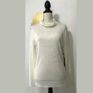 MaxSport Ivory Turtleneck Light Wool Blend Sweater